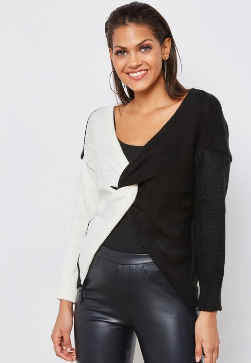 Colourblock Twisted Front Sweater