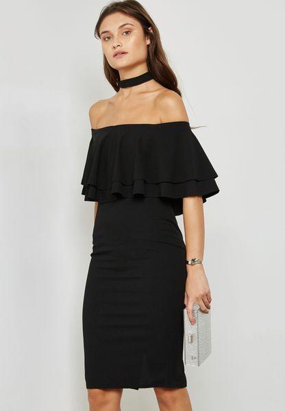 Choker Ruffle Bardot Dress
