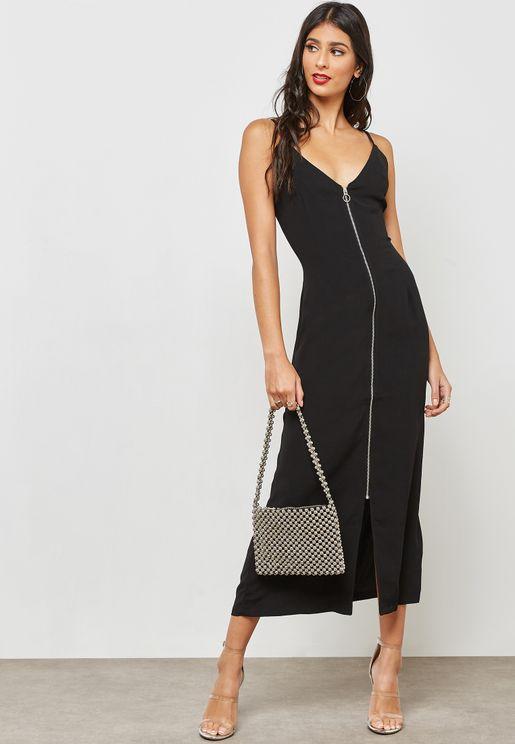 Zip Through Slip Midi Dress