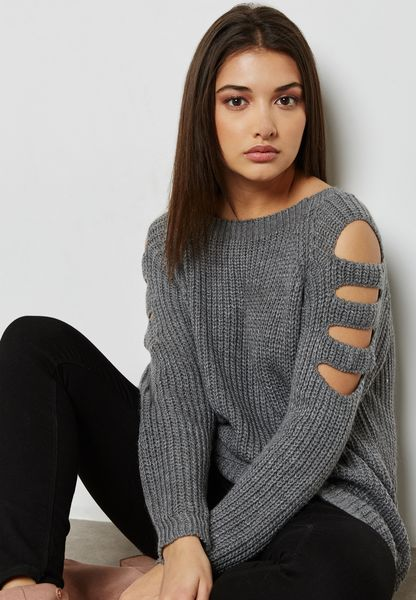 Cut Out Sleeve Sweater