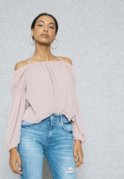 Halterneck Puffed Sleeve Detail Top