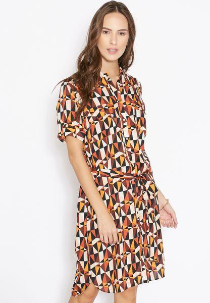 Geometric Printed Shirt Dress