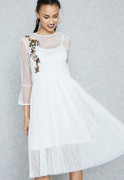 Sheer Embroidered Pleated Dress
