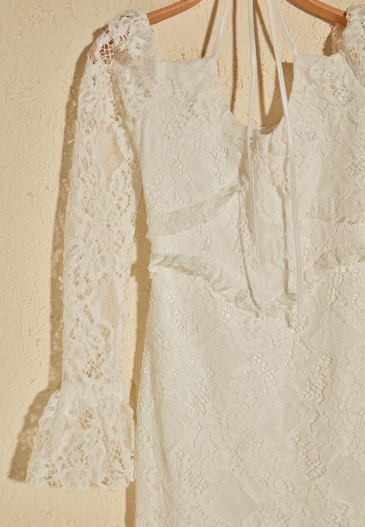 Flute Sleeve Lace Detail Dress