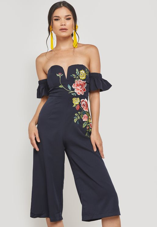 Floral Embroidered Bandeau Jumpsuit