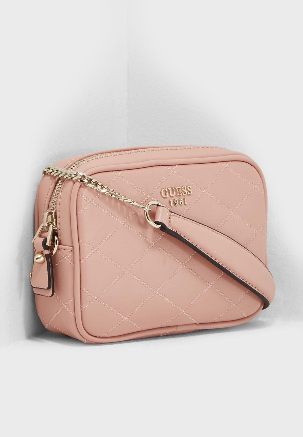21e99beaad Shop Guess pink Penelope Top Zip Crossbody VG696370ROS for Women in ...