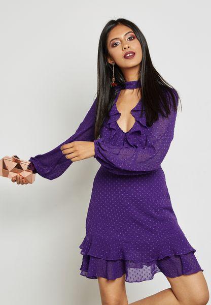Choker Neck Ruffle Detail Plunge Dress