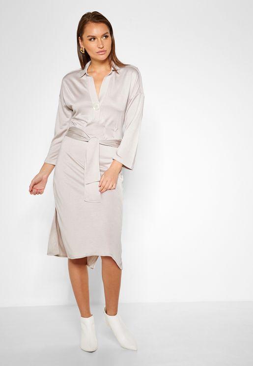 Tie Waist Side Split Dress