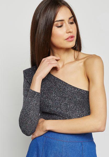One Shoulder Glitter Bodysuit