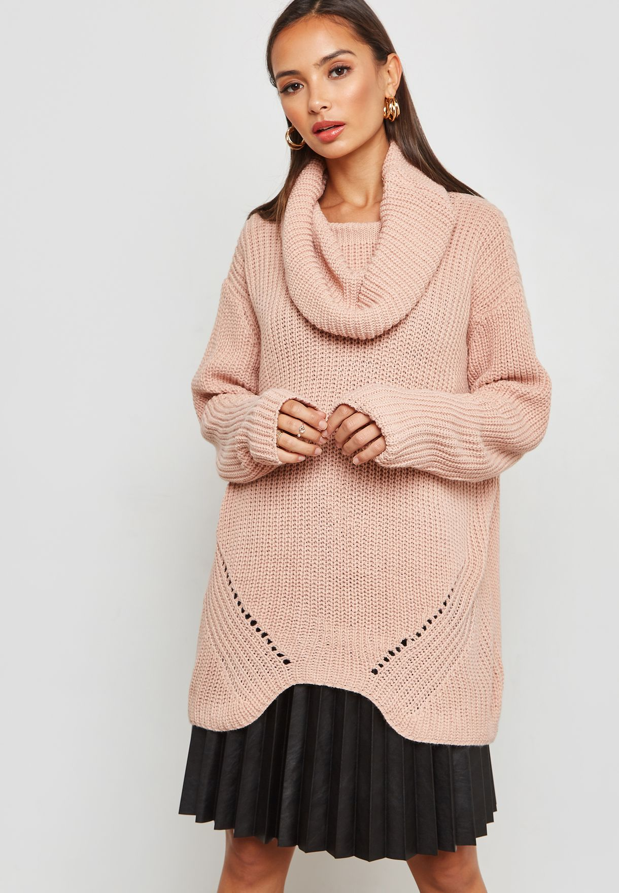 f9fadce13a Shop Ginger pink Oversized Cowl Neck Sweater 3120-8776 for Women in ...