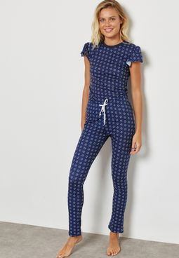 Frill Detail Printed Pyjama Set