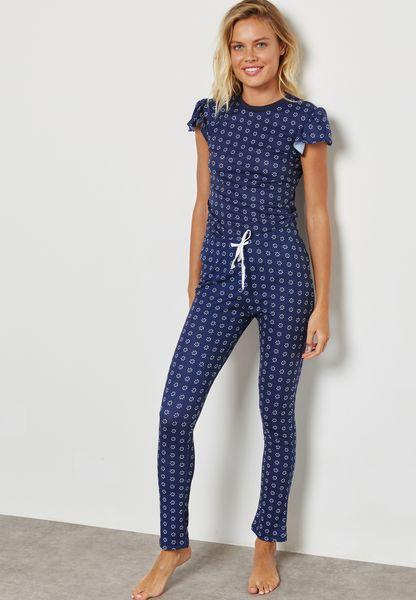 Frill Detail Printed Pyjama Set