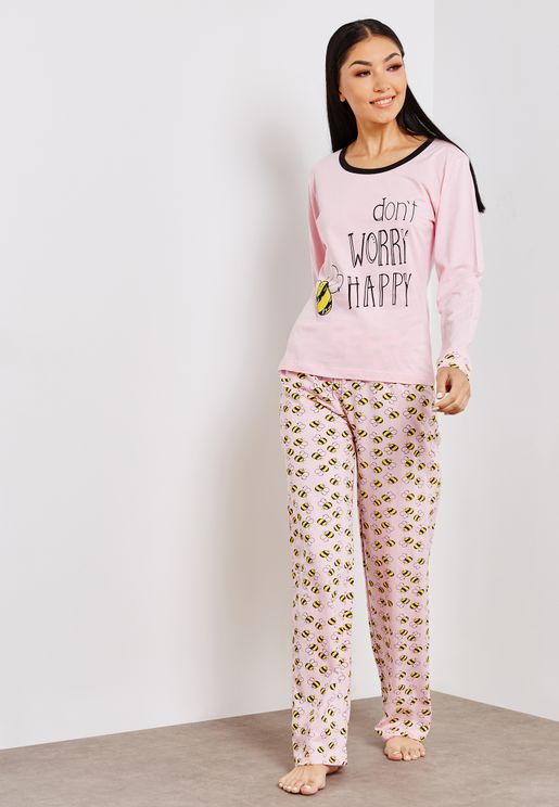Crew Neck Slogan Top Polka Dot Pyjama Set