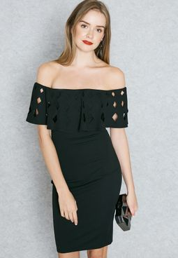 Laser Cut Ruffle Bardot Dress