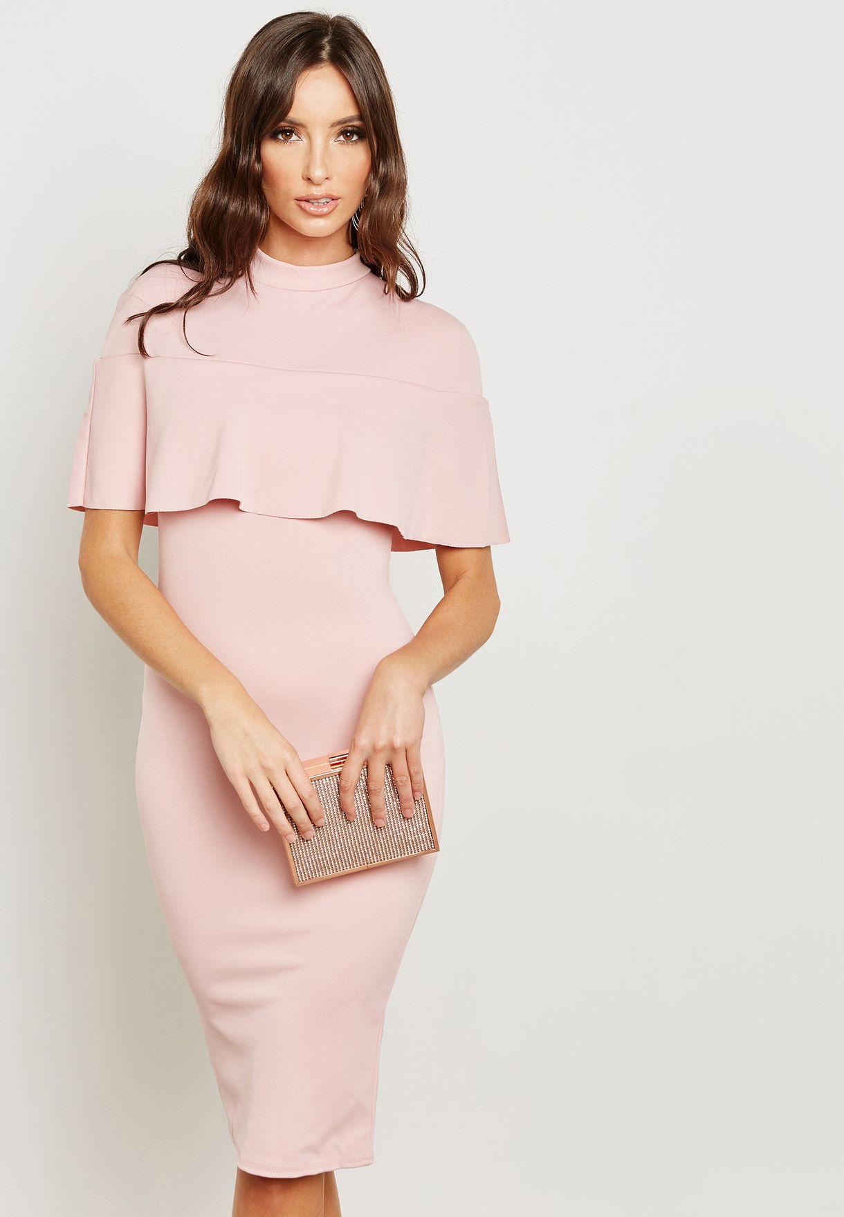 465496290f Shop Missguided pink Frill Overlay Shoulder Midi Dress DE922294 for ...