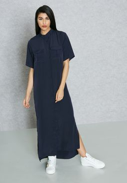 Shirt Slit Maxi Dress