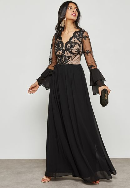 Sheer Detail Lace Maxi Dress