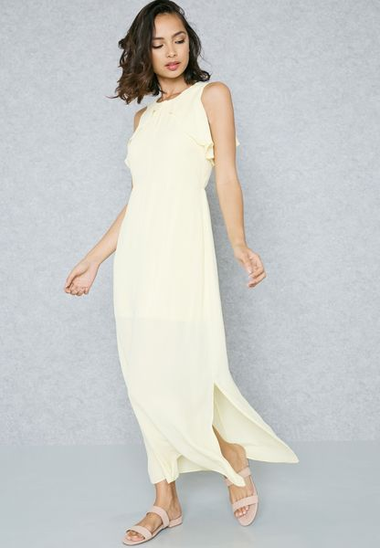 Side Split Ruffle Detail Maxi Dress