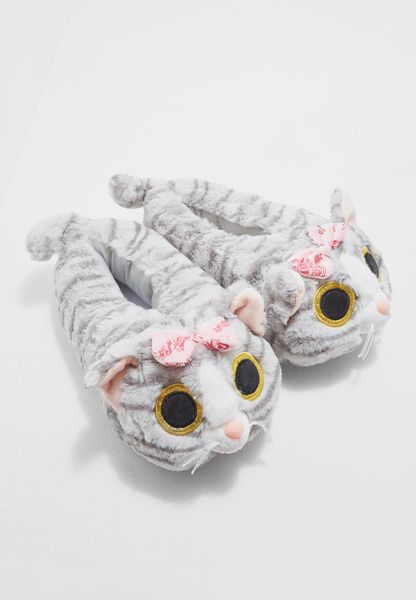 Cat with bow 3D slipper