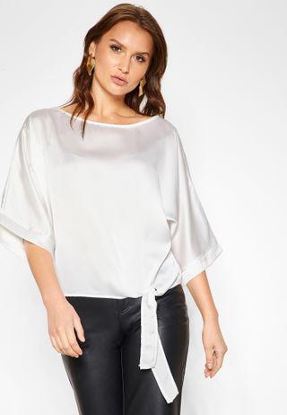8268625623 Shop Ella stripes Striped Tie Front Top 35349 for Women in Qatar ...