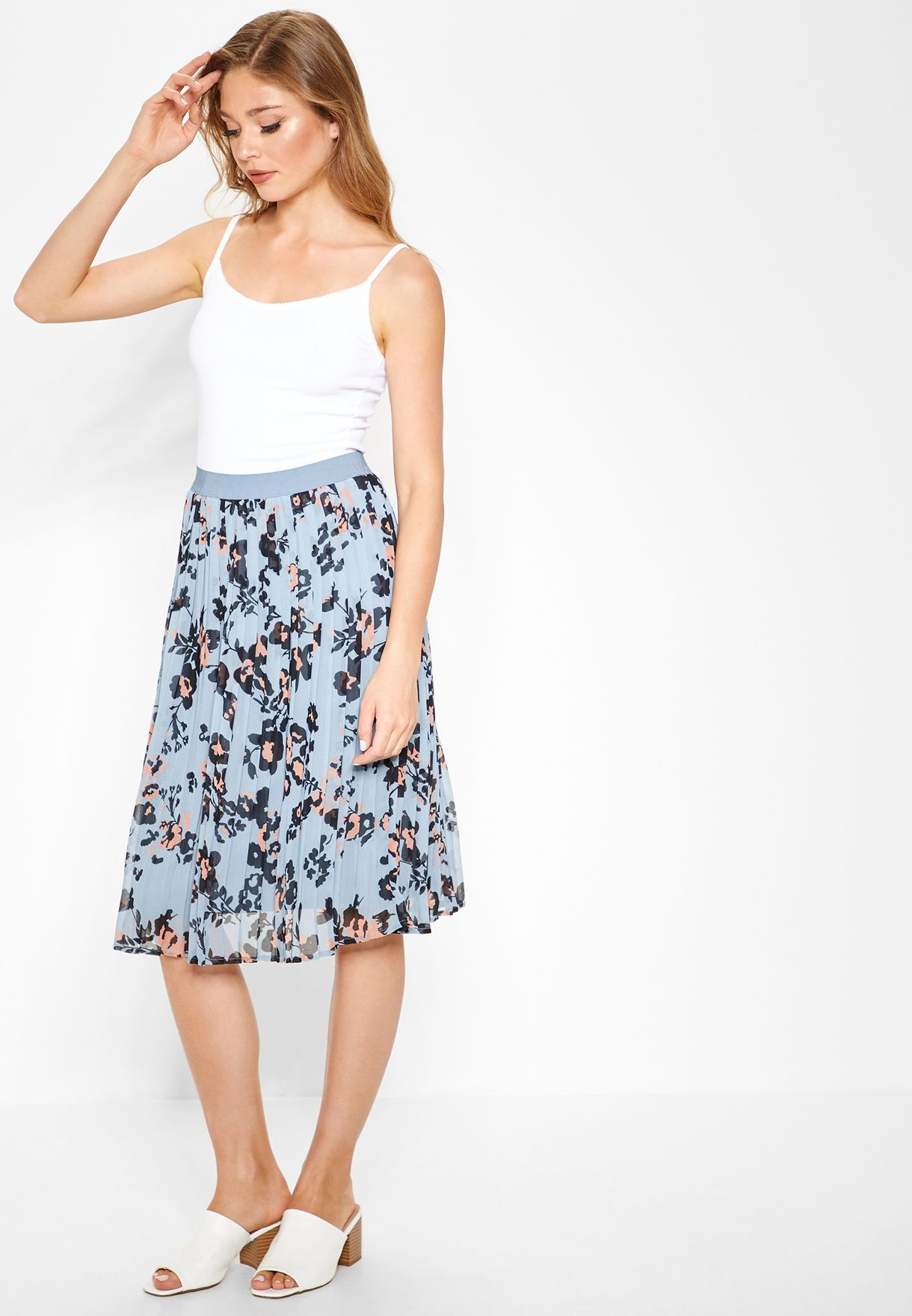 d66931187f Shop Pieces prints Printed Pleated Skirt 17092097 for Women in UAE ...