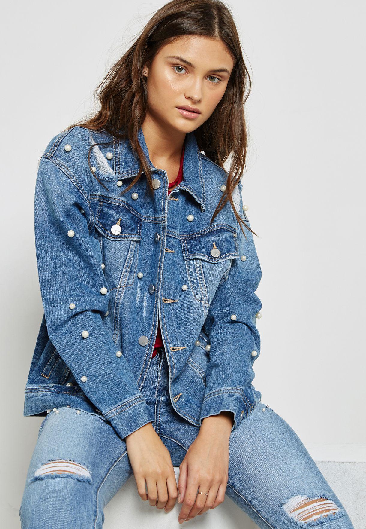 ac08efe7761a1 تسوق جاكيت جينز مزين باللؤلؤ ماركة جينجر لون أزرق 1002 في الامارات ...