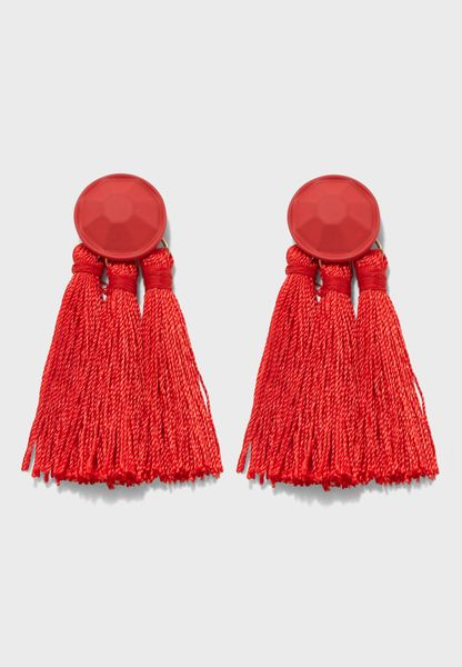 Coated Top Tassel Earrings