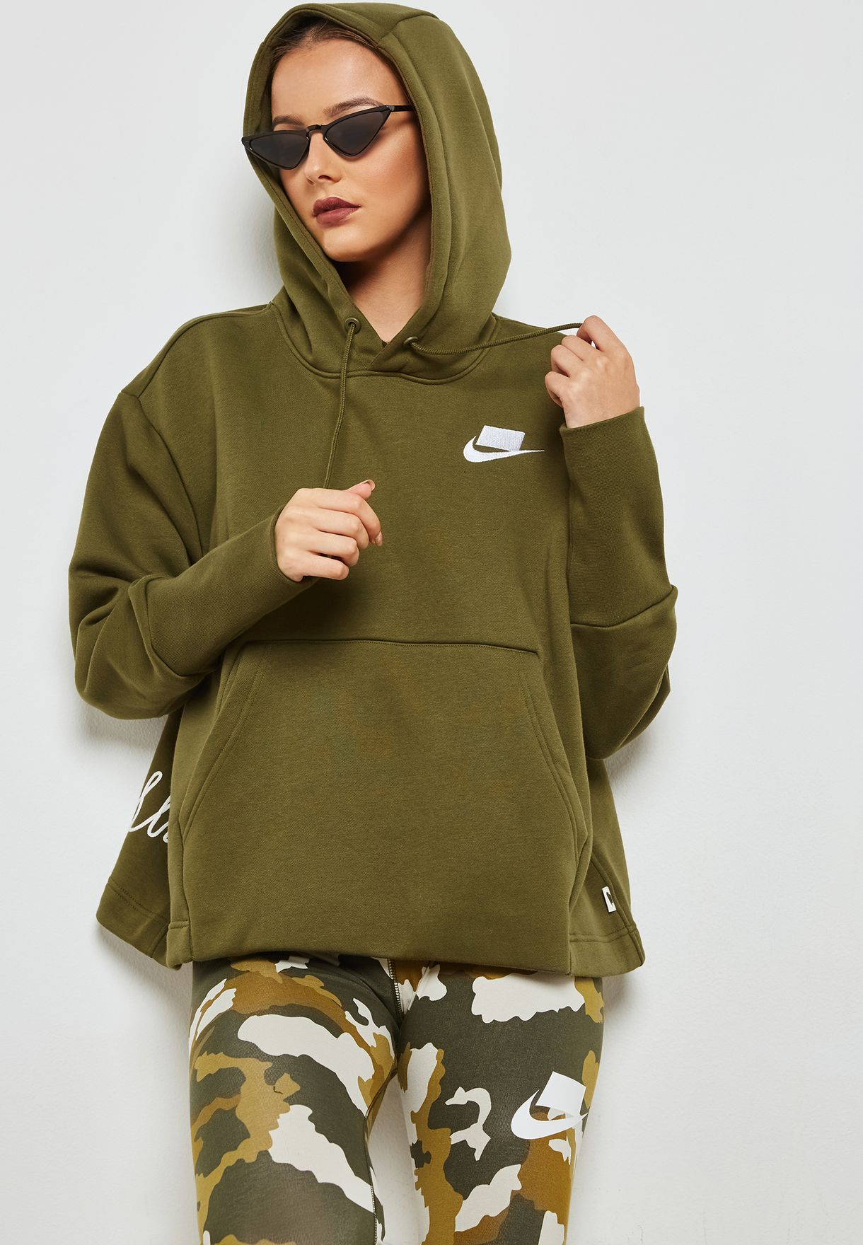 0c1fcc3d7 Shop Nike khaki NSW Fleece Hoodie AH8690-395 for Women in Saudi ...