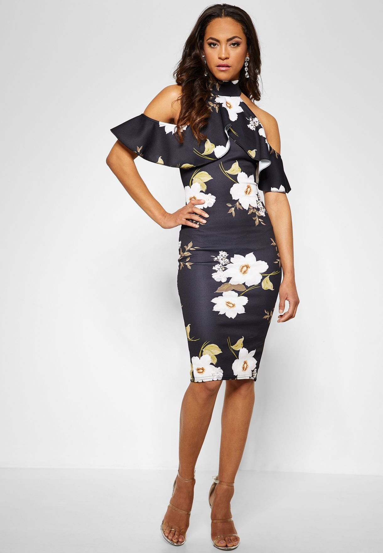 Cold Shoulder Floral Print Midi Dress