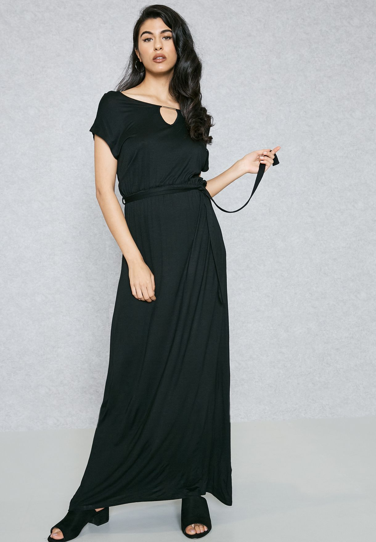 3332978fd41 Shop Ella black Self Tie Maxi Dress Nam8540 for Women in UAE ...