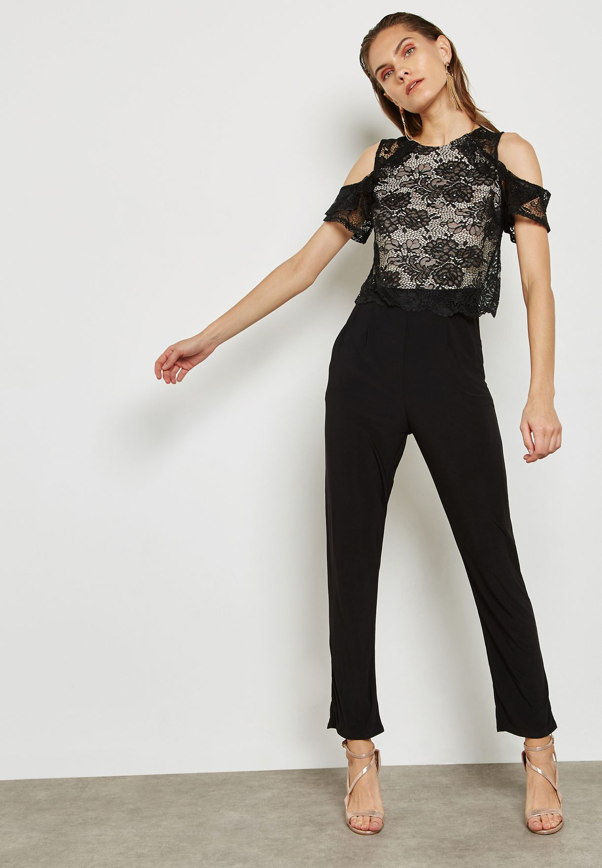 Lace Top Cold Shoulder Jumpsuit