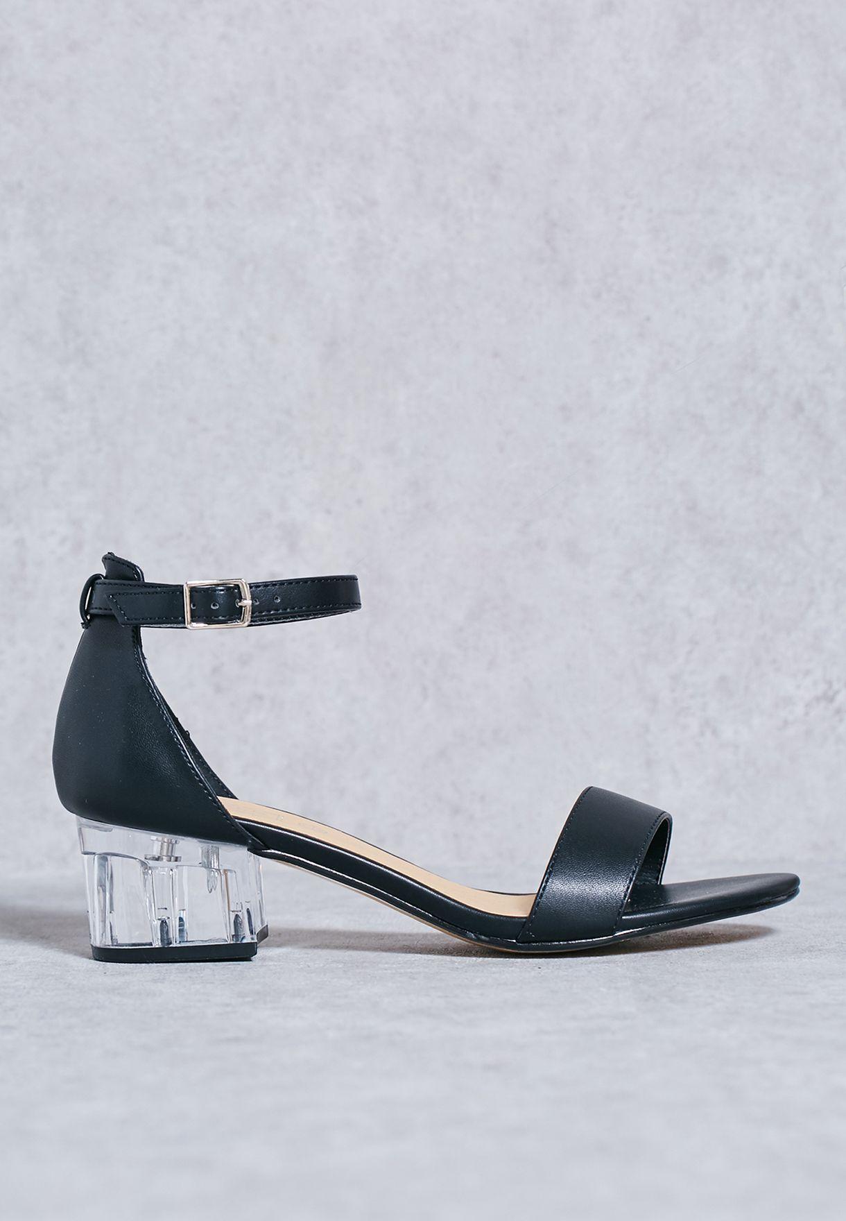 a4a7c4628430 Shop Truffle black Two Part Block Heel Sandals for Women in UAE ...