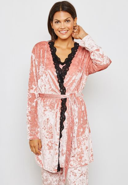 Lace Trim Belted Velvet Robe