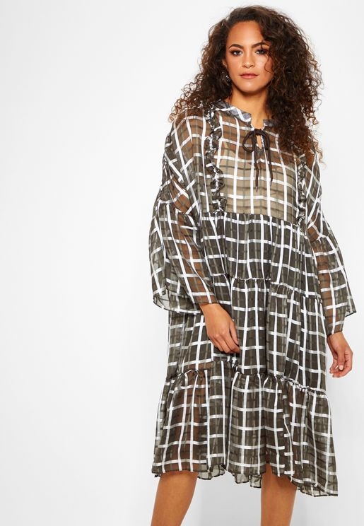 Flute Sleeve Checked Smock Dress