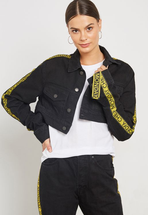 Slogan Tape Sleeve Detail Cropped Jacket