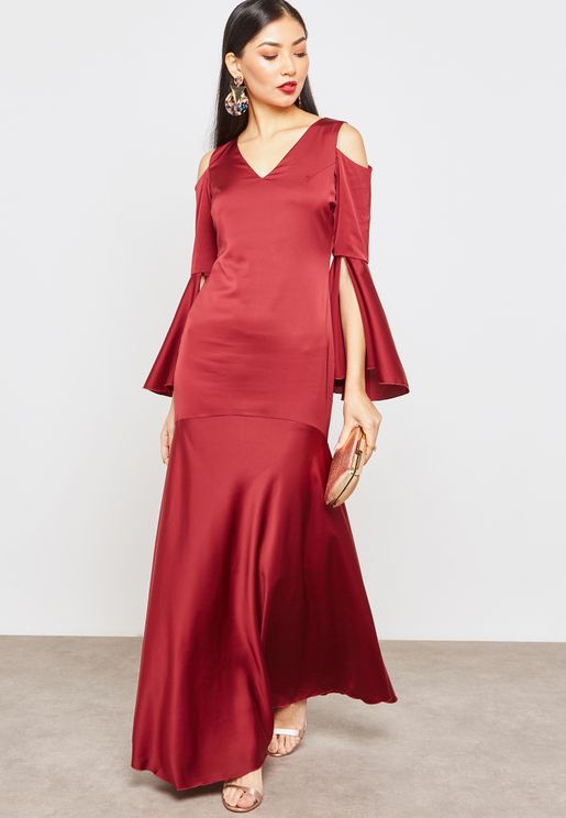 Ruffle Sleeve Cold Shoulder Dress