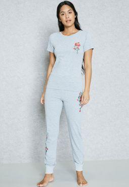 Printed Cuffed Pyjama Set