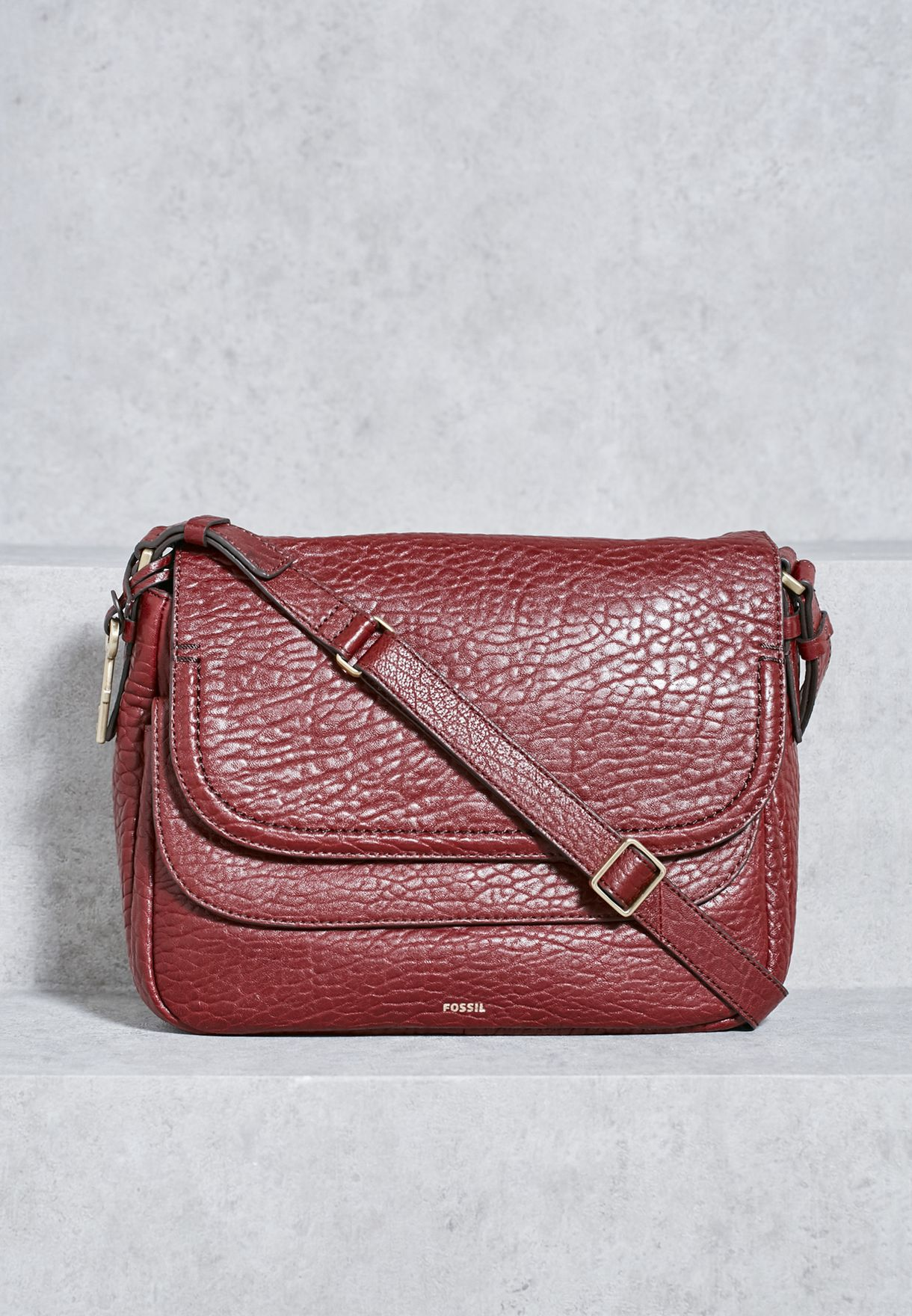 850919c9b Shop Fossil red Large Peyton Double Flap Crossbody ZB6921609 for ...