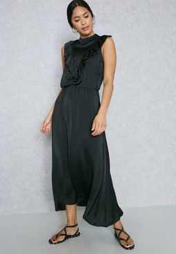 Ruffle Paneled Maxi Dress