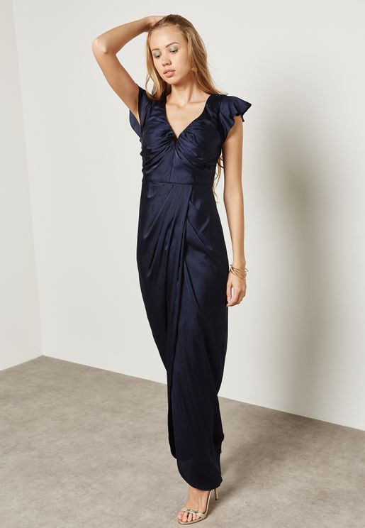Ruffle Sleeve Wrap Dress