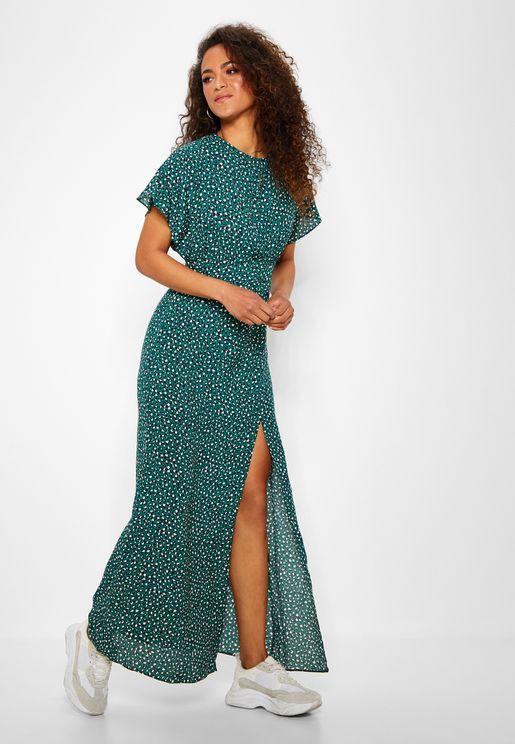 Printed Keyhole Maxi Dress