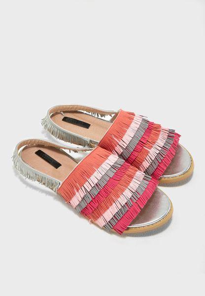 Multi Fringed Flat Sandal