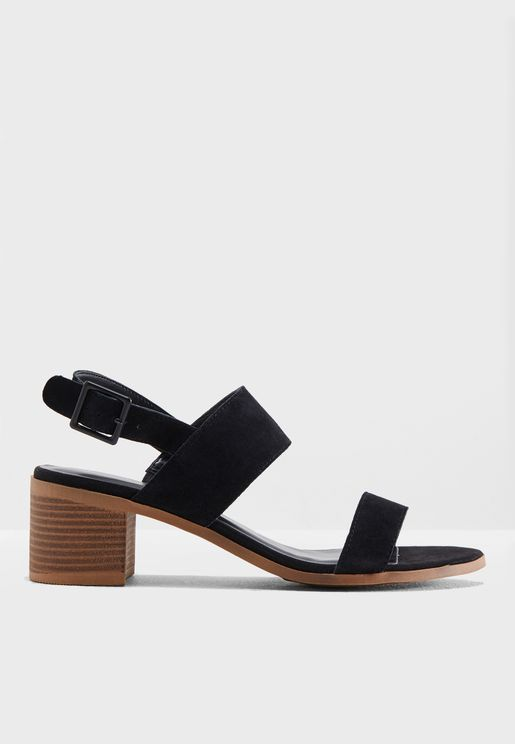 Suede Block Heel Sandal