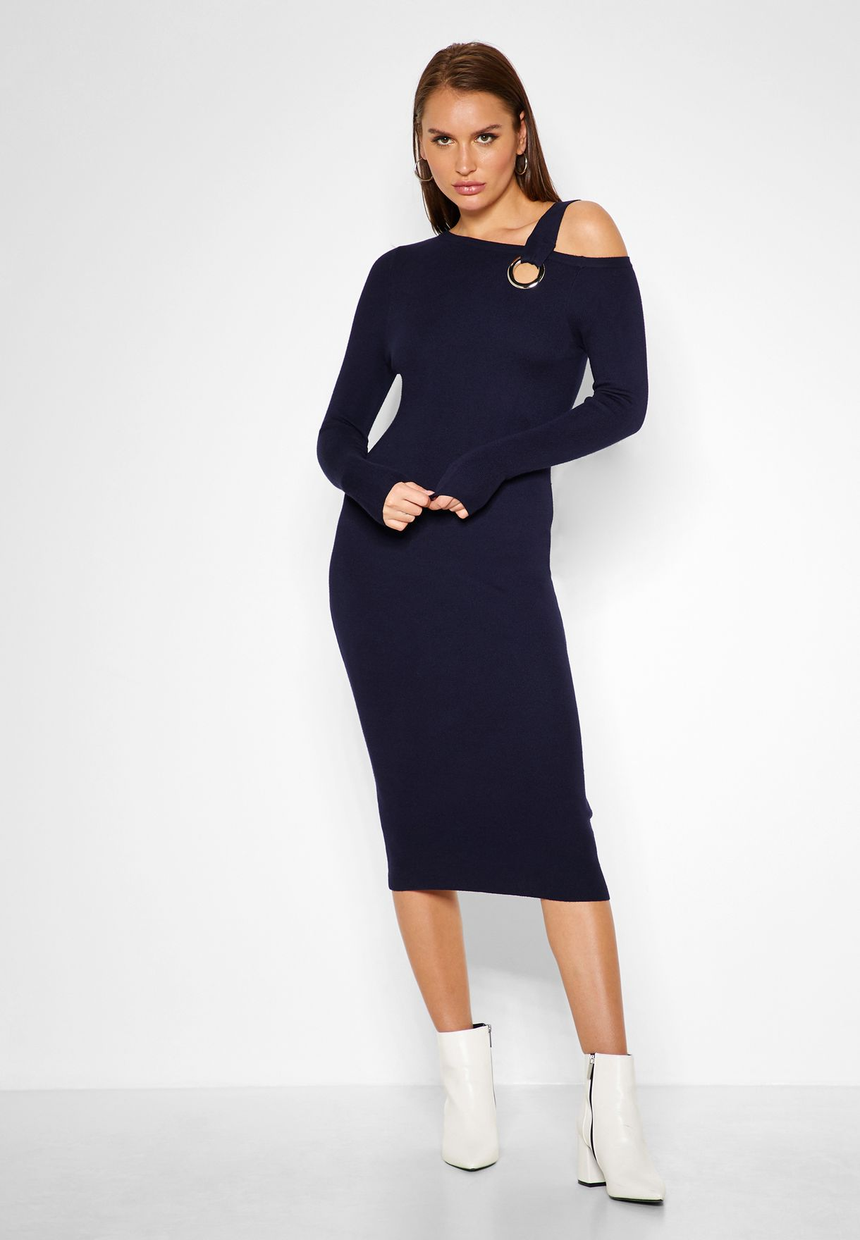 Long Sleeve Eyelet Bodycon Midi Dress