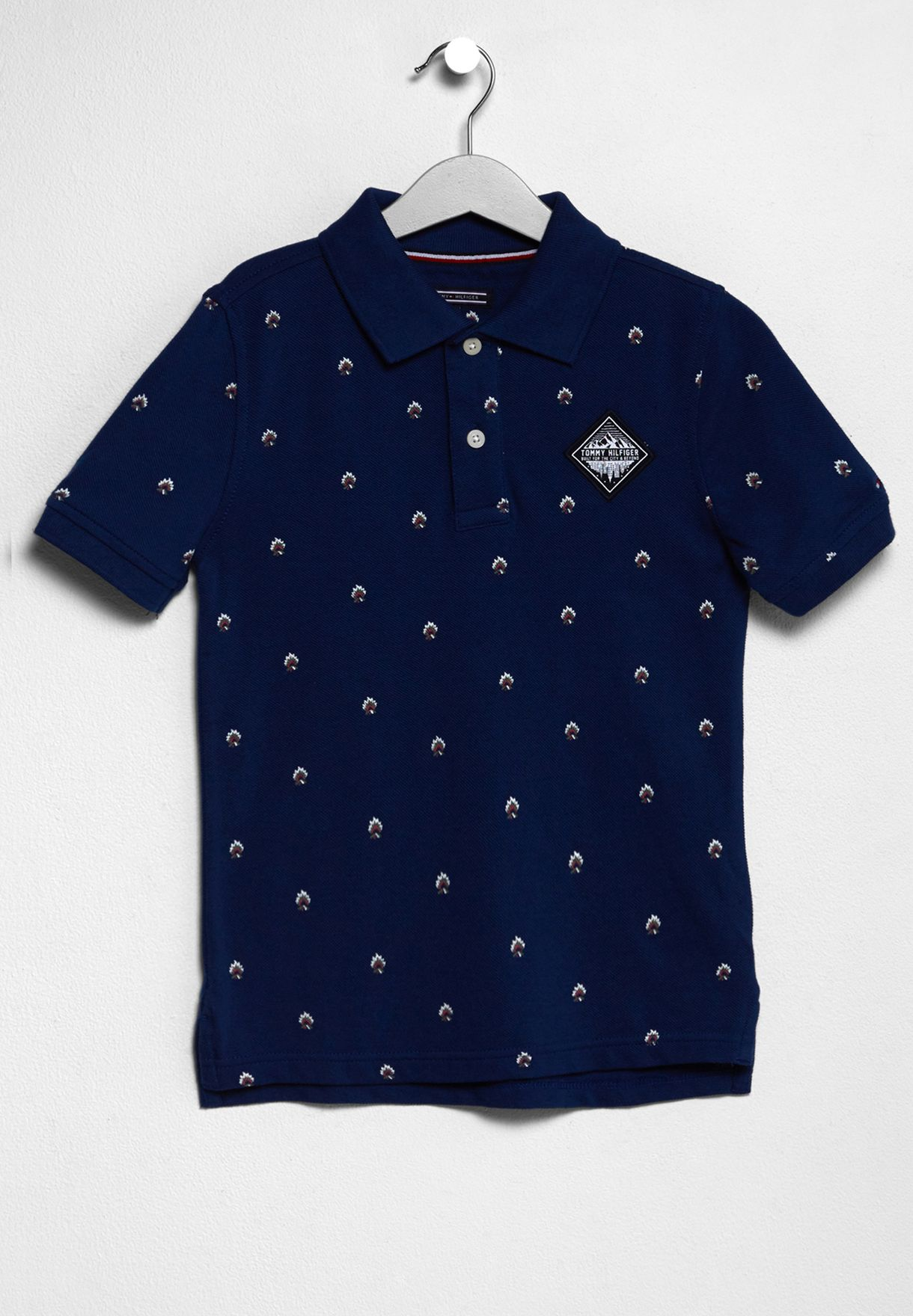 5312f225 Shop Tommy Hilfiger navy Little Printed Polo KB0KB03395 for Kids in ...