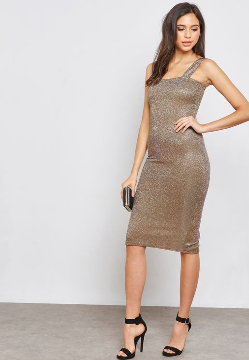 Shimmer Midi Bodycon Dress