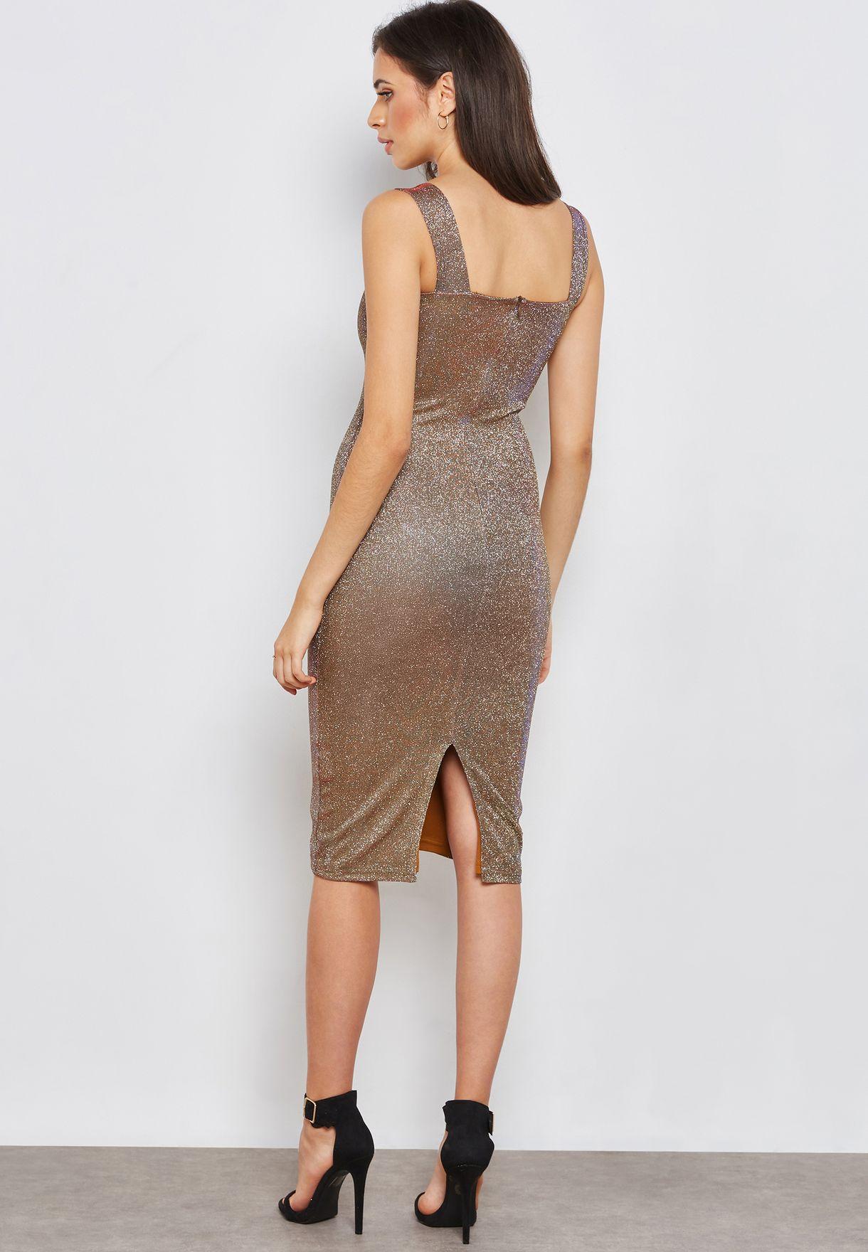 Shimmer Midi Bodycon Dress