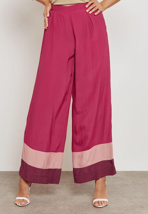 Colourblock Wide Leg Pants