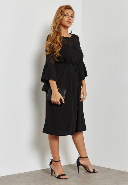 Polka Dot Mesh Ruffle Sleeve Dress