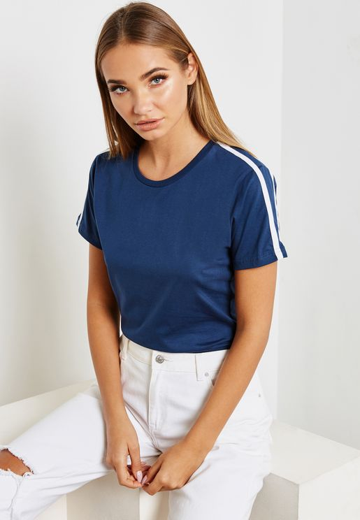Contrast Tape Sleeve T-Shirt